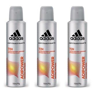 Kit 3 Desodorantes Adidas Adipower Aerossol Masculino 150ml