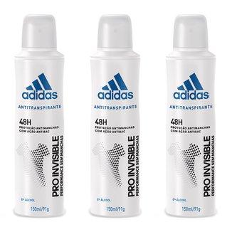 Kit 3 Desodorantes Adidas Invisible Aerossol Masculino 150ml
