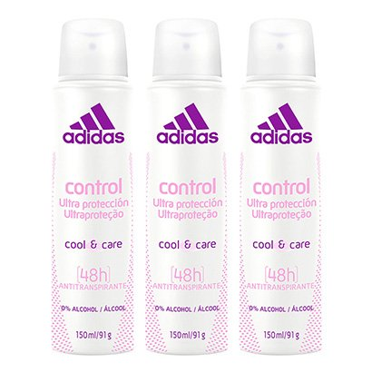 Kit 3 Desodorantes Aerosol Adidas Feminino Cool & Care Control 150ml