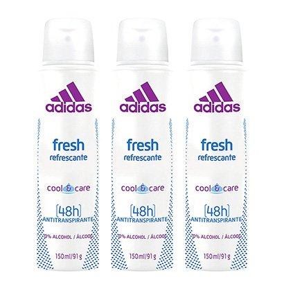 Kit 3 Desodorantes Aerosol Adidas Feminino Cool & Care Fresh 150ml