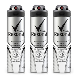 Kit 3 Desodorantes Rexona Men Aerosol Antitranspirante Sem Perfume 150ml