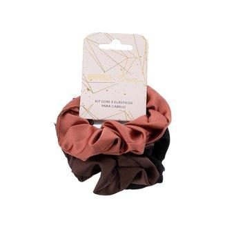 Kit 3 Elásticos para Cabelo Gabriela Beauty Cetim Color - U Feminino