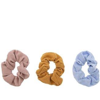Kit 3 Elásticos para Cabelo Gabriela Beauty Tecido Color - U Feminino