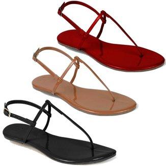 Kit 3 Pares Sandália Flat Rasteira Feminina Mercedita Shoes