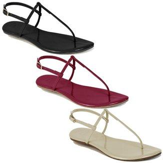 Kit 3 Pares Sandalia Flat Rasteira Feminina Mercedita Shoes