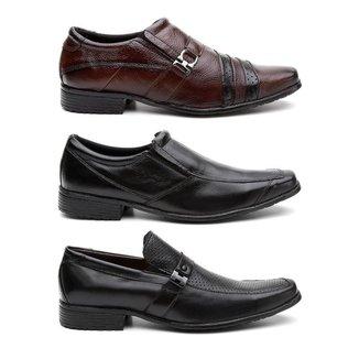 Kit 3 Pares Sapato Social HShoes Couro Conforto Elegante Masculino