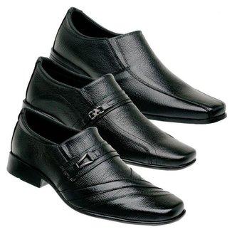 Kit 3 Sapato Social Masculino Couro Leve Conforto Clássico