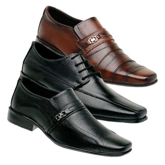 Kit 3 Sapato Social Masculino Couro Leve Macio Confortável