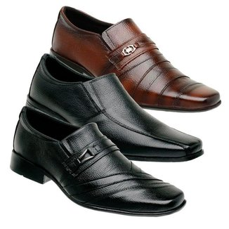 Kit 3 Sapato Social Masculino Couro Macio Dia a Dia Elegante