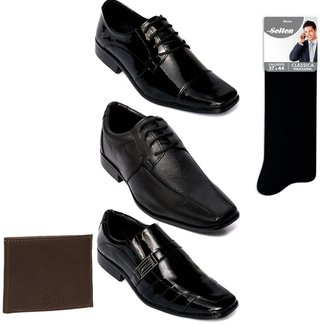 Kit 3 Sapatos Sociais com Meia e Carteira em couro Selten Masculino