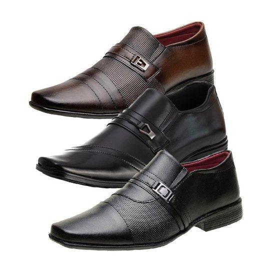Kit 3 Sapatos Sociais Masculino Bico Quadrado Dia a Dia - Marrom+Preto