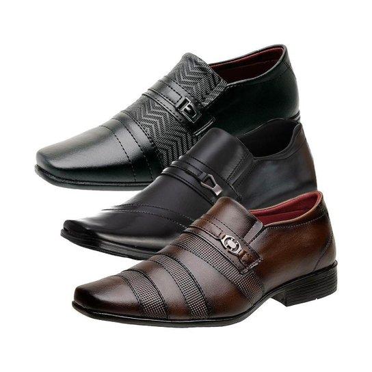 Kit 3 Sapatos Sociais Masculino Bico Quadrado Dia a Dia - Preto+Marrom