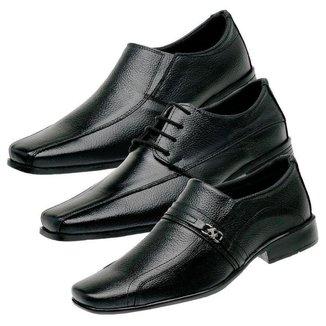 Kit 3 Sapatos Social Masculino Couro Elegante Confortável