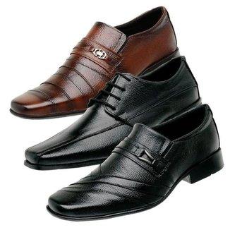 Kit 3 Sapatos Social Masculino Couro Festa Confortável