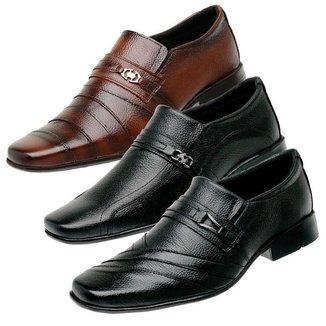 Kit 3 Sapatos Social Masculino Couro Festa Conforto