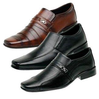 Kit 3 Sapatos Social Masculino Couro Liso Confortável