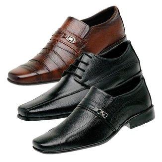 Kit 3 Sapatos Social Masculino Liso Couro Confortável
