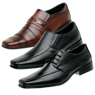 Kit 3 Sapatos Social Masculino Liso Couro Conforto