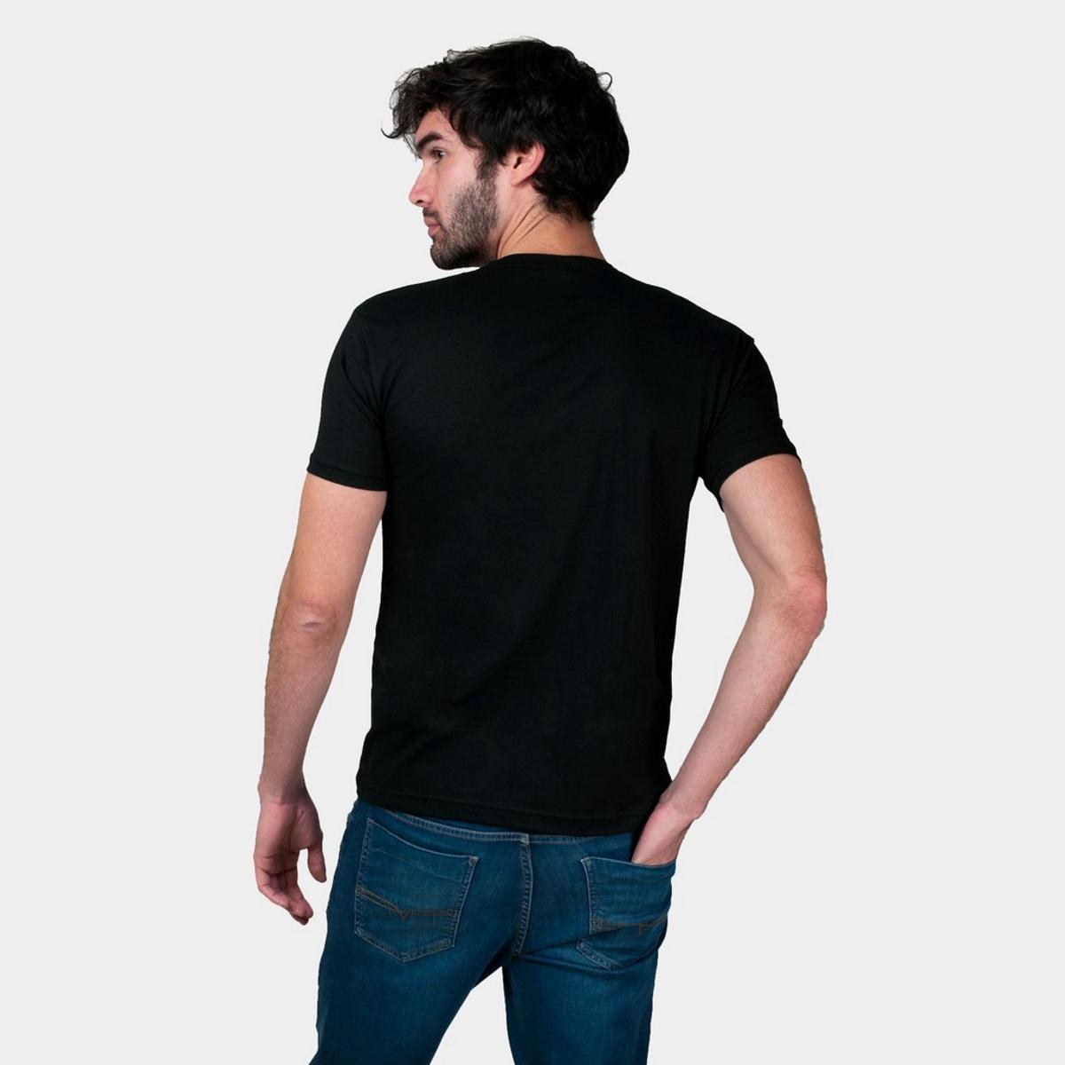 Kit 5 Camisetas Básica Masculina - Preto