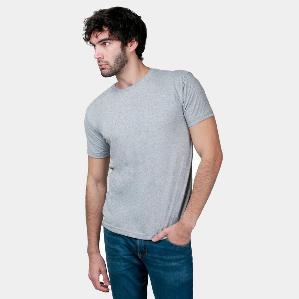 Kit 5 Camisetas Básica Masculina - Cinza