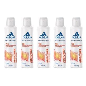 Kit 5 Desodorantes Adidas Adipower Aerossol Feminino 150ml