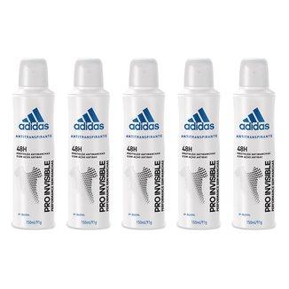 Kit 5 Desodorantes Adidas Invisible Aerossol Masculino 150ml