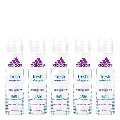 Kit 5 Desodorantes Aerosol Adidas Feminino Cool & Care Fresh 150ml