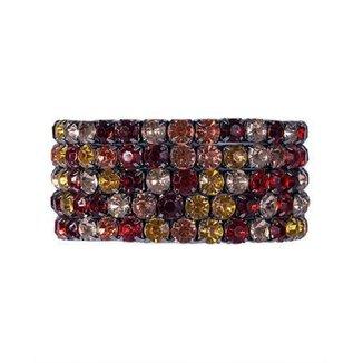 Kit 5 pulseiras grafite com pedra vermelha, amarela, laranja e rosé raysa