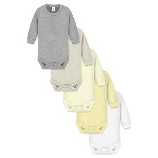 Kit 5Pçs Body Básica Lisa Longoo Zupt Baby Tons Pasteis