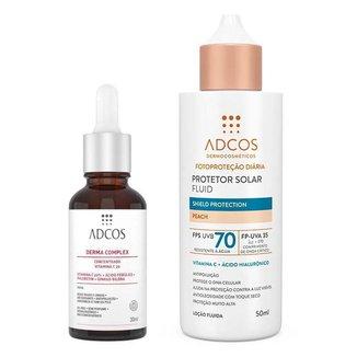 Kit Adcos Derma Complex + Fluid Shield Protection Kit - Sérum Anti-Idade + Protetor Solar