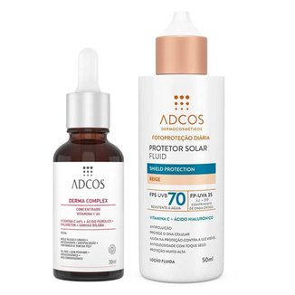 Kit Adcos Derma Complex + Fluid Shield Protection - Sérum Anti-Idade + Protetor Solar