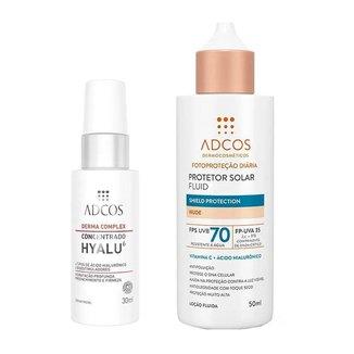 Kit Adcos Derma Complex Hyalu 6 + Fluid Shield Protection Kit - Sérum Facial + Protetor Solar