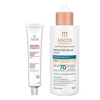 Kit Adcos Derma Complex Vitamina C 20 + Fluid Shield Protection Anti-Idade + Protetor Solar