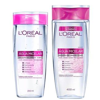 Kit Água Micelar L'Oréal Paris Solução de Limpeza Facial 5 em 1 200ml + Água Micelar 400ml