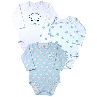 Kit Ano Zero Body Bebê Menino Suedine Estampado Estrelas e Ovelhinhas Masculino