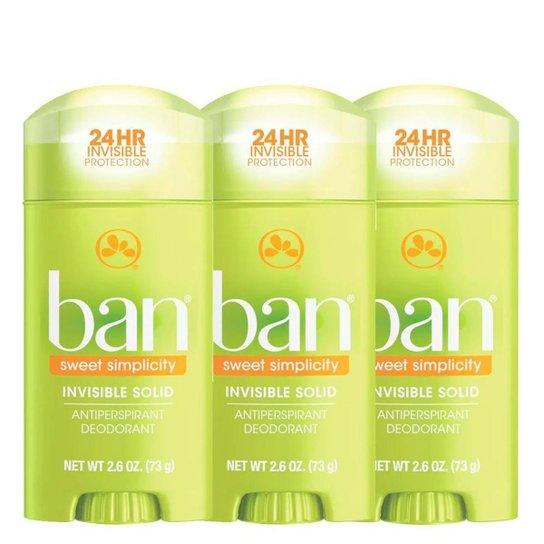 Kit Ban Sweet Simplicity  3 Desodorantes Sólidos - Incolor