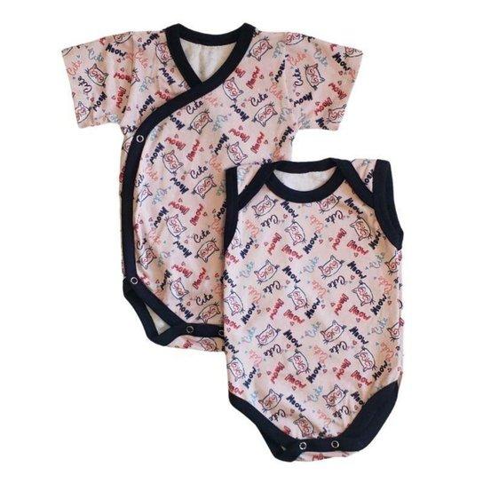 Kit Body Bebê Babié Kimono + Regata Estampado Feminino - Marinho+Rosa Claro