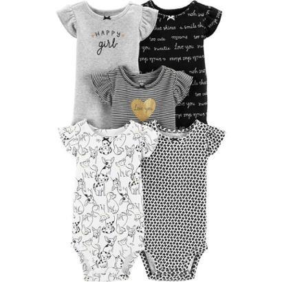 Kit Body Bebê Carter's 5 Peças Love Feminino-Feminino