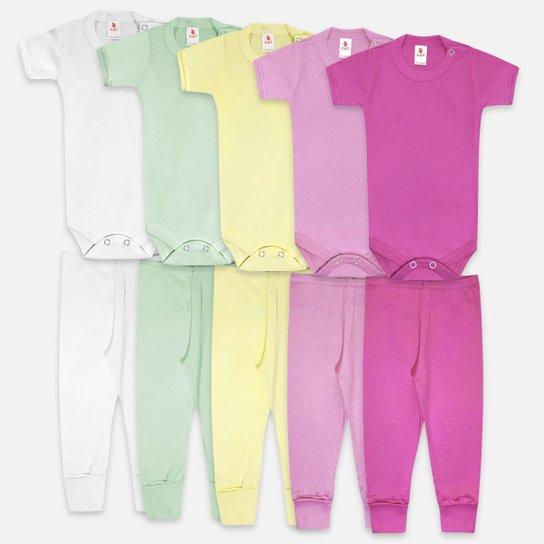 Kit Body Bebê Zupt Baby Enxoval 10 Peças Feminino - Pink+Rosa