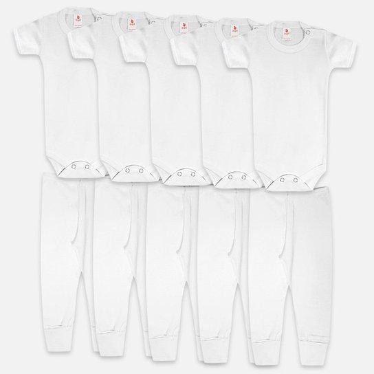 Kit Body Bebê Zupt Baby Enxoval 10 Peças. - Branco
