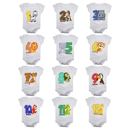 Kit Body De Bebê Calupa Mesversario Manga Curta Safari Colorido 12 Bodies 1 A 12 Meses - Branco