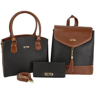 Kit Bolsa Feminina Handbag Com Mochila E Carteira Moderna