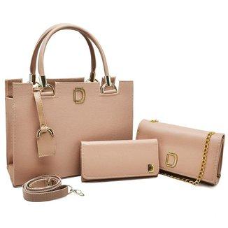 Kit Bolsa Feminina Tote + Bolsa Clutch Corrente + Carteira
