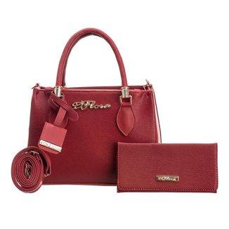 Kit Bolsa Handbag D'Flora + Carteira Feminina Alça Removivel