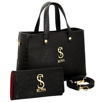 Kit Bolsa Selten Handbag Couro Croco Forro Aveludado e Carteira Feminina