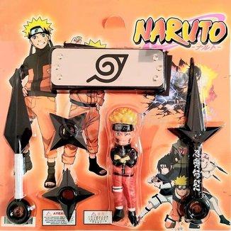 Kit Boneco Naruto 15cm + 2 Shuriken + 1 Bandana + 1 Kunai do 4º Hokage + 1 Kunai Simples