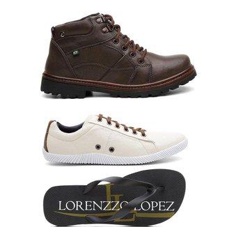Kit Bota Coturno + Sapatênis + Chinelo Lorenzzo Lopez Masculino