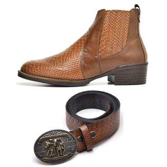 Kit Bota Texana Country Masculina Escamada + Cinto