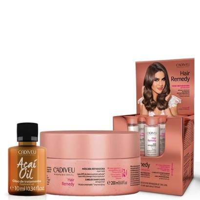 Kit Cadiveu Hair Remedy 1 Máscara Reparadora 200Ml + 6 Ampolas 15Ml + 1 + Óleo Açaí 10Ml-Feminino