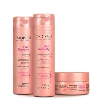 Kit Cadiveu Hair Remedy Shampoo 250ml + Condicionador 250ml + Máscara 200ml